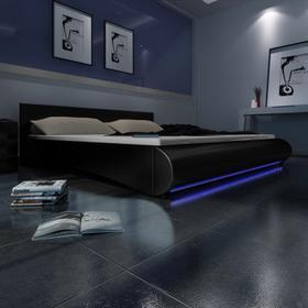 Czarne Łóżko ze sztucznej skóry z pasem LED 140x200 cm z materacem