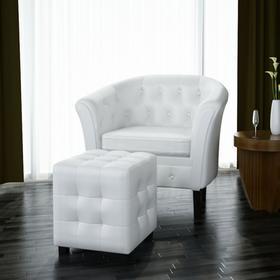vidaXL Fotel Chesterfield biały z podnóżkiem