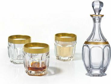 Bohemia Szklanki do whisky + karafka Safari Gold Crystalite