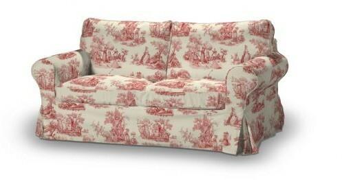Dekoria Pokrowiec na sofę Ektorp 2-osobową, nierozkładaną Avinon tło ecru, czerwone
