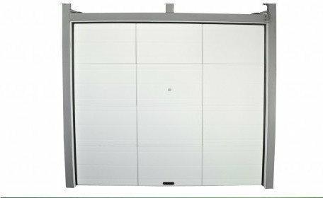 Drzwi garażowe, segmentowe, chowane, biało-szare.