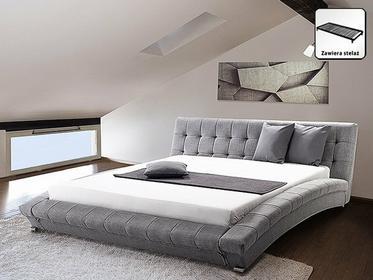 Beliani Nowoczesne łóżko Tapicerowane ze stelazem 180x200 cm - LILLE szare szary