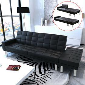 EKO vidaXL Rozkładana sofa z czarnej skóry
