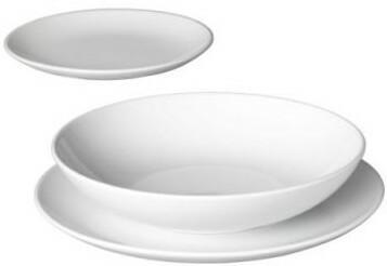 IKEA Zastawa, serwis obiadowy, ceramika, biały, komplet obiadowy, 18 szt.,  wz. FRG 901.487.90
