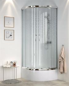 Cersanit CDOM03 90x90 profil chrom szkło mrożone kółka + brodzik