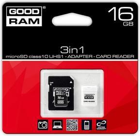 Goodram MicroSDHC 16GB Class 10 + adapter + czytnik USB 16GB