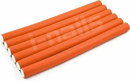 papiloty gumowe wałki do włosów 240x12mm 6szt - pomarańczowe