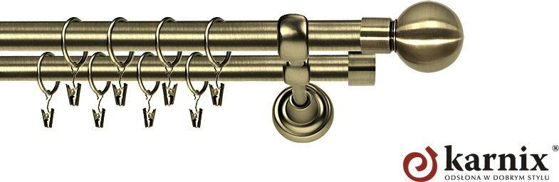 Karnix Karnisz Metalowy Rzymski podwójny 25/19mm Kula antyk mosiądz