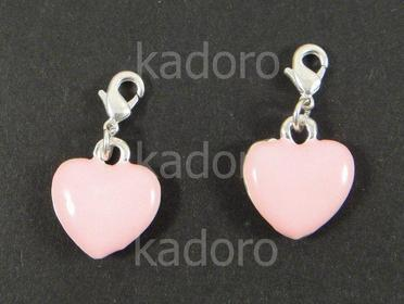 Zawieszka charm serce różowe - 1 sztuka