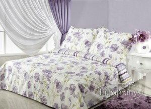 Eurofirany Pościel satyna Premium 200x220 Ashley Krem Fiolet CE84-68188