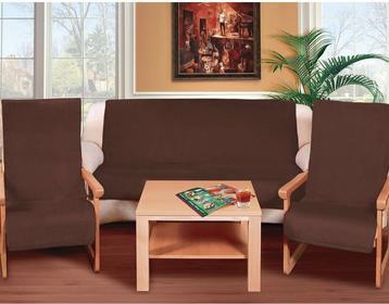 Bellatex Narzuty na kanapę i fotele Korall micro ciemnobrązowe, 150 x 200 cm, 2