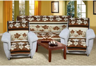 Bellatex Narzuty na kanapę i fotele Karmela Plus brązowe, 150 x 200 cm, 2 szt. 6
