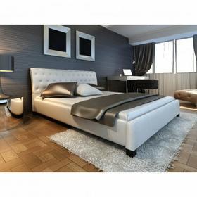 Łóżko ze sztucznej skóry, białe + materac 140x200 cm