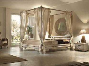 Bortoli Komplet sypialniany z baldachimem z bambusa Tabanan (Łóżko 180)