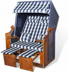 Leżak plażowy, fotel składany, niebiesko biała krata, niebieski rattan