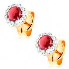 e-shop Złote kolczyki 585 - okrągły czerwony rubin, oprawa z przezroczystych kryształków Swarovskiego