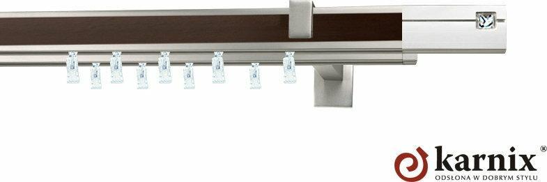 Karnix Karnisz apartamentowy AVENO podwójny 31x13/31x13mm Siso Crystal Chrom mat