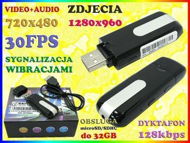 MINI KAMERA SZPIEGOWSKA JAK PENDRIVE 720x480 + DYKTAFON 128kbps + APARAT 1280x960 Easy_ID:1MR0498