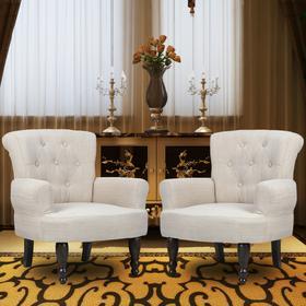 vidaXL Piękne, kremowe fotele z podłokietnikami (2 sztuki)