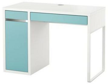 Biurko komputerowe z szufladą i szafką, biały/turkus 0006_203.252.96