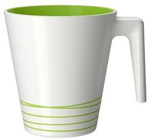 IKEA Kubek, biały, zielony, kamionka, 25 cl,  wz. HRR 401.768.13