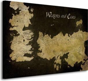 Game of Thrones (Westeros and Essos Antique Map) - Obraz na płótnie