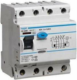 Hager Wyłącznik różnicowoprądowy 4 40A 30MA typ AC CDC440J