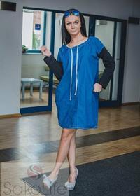 Sakolife Sukienka jeansowa z wiązanym dekoltem
