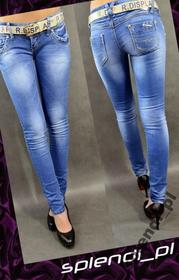 Seksi Spodnie rurki przetarcia +pasek r.26_re009