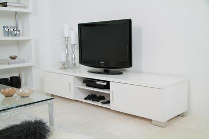 Actona Raymond TV Biała Szafka pod Telewizor Lakierowana na Wysoki Połysk 180x45 cm - 0000040408