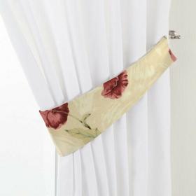 Dekoria Podwiązka Victoria, kremowe tło,bordowo-różowe maki, 12 x 70 cm, Flowers