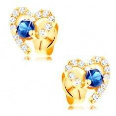 e-shop Złote kolczyki 585 - ciemnoniebieski szafir w niepełnym cyrkoniowy konturze serca