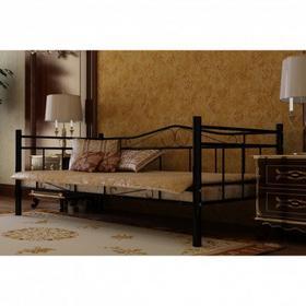 Łóżko metalowe ze Stelażem, czarne + materac 90x200 cm