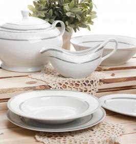 Ambition Serwis obiadowy BARON SILVER dla 12 osób (43 el.) -- biały, szary, srebr
