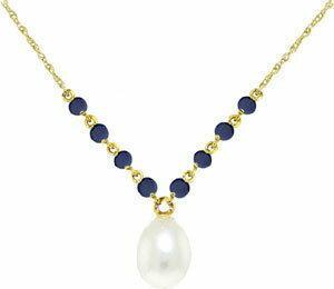Galaxy Gold Products 3331 Naszyjnik z perłaą i szafirami