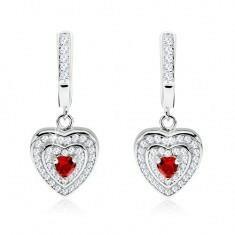 e-shop Srebrne 925 kolczyki, czerwona cyrkonia, serduszka z przeźroczystymi kamyczkami