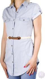 Dromedar Dłuższa koszula / tunika jeansowa bardzo jasno niebieska z paskiem
