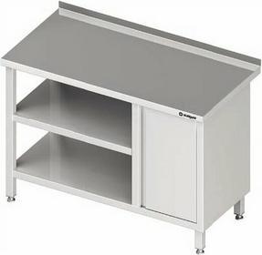 Stalgast Stół przyścienny z szafką z drzwiami skrzydłowymi (P) i dwoma półkami 1