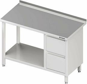 Stalgast Stół przyścienny z blokiem dwóch szuflad (p),i półką 1400x600x850 mm 98