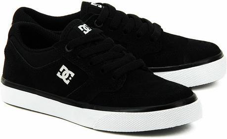 DC Shoes Nyjah Vulc - Czarne Zamszowe Trampki Dziecięce - ADBS300115 - BKW