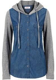 Bonprix Koszula dżinsowa z rękawami shirtowymi 973290_56394 niebieski