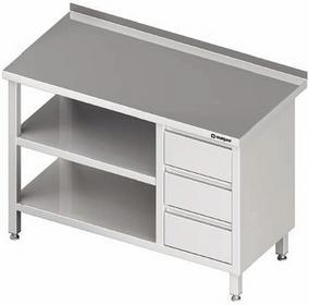 Stalgast Stół przyścienny z blokiem trzech szuflad (P) i dwoma półkami 1100x600x