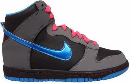 Nike buty dla dzieci - Dunk High (Gs) Black/Vibrant Blue-Cl Gry-Sprk (001) rozmi