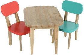 MAILEG Drewniany Stolik i krzesełka turkus/koral 11-3126-00
