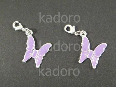 Zawieszka charm motylek liliowy - 1 sztuka