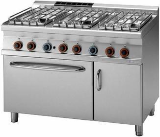 RM Gastro Kuchnia gazowa z piekarnikiem gazowym GN 2/1 CF6 - 712 GV/P