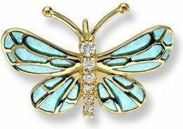 Nicole Barr Złoty wisiorek motyl z emalią i brylantami