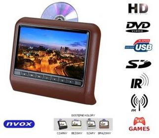 NVOX 9 Monitor zagłówkowy HD z DVD USB SD IR FM GRY DV9917HD BR