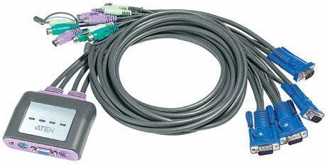 Aten przełącznik KVM 4/1 PS/2 + audio z kablami mini CS-64A (CS-64A)