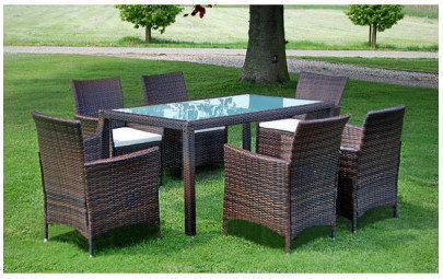 Meble ogrodowe rattanowe brąz stół + 6 krzeseł